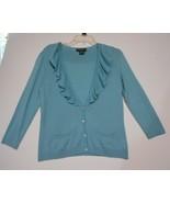 Eddie Bauer Turquoise Silk Angora Size M Frilled V Neck  Cardigan Sweater - $15.55
