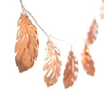 Ling's moment rose gold light Feather Shaped Copper Metal LED Lantern St... - $17.19