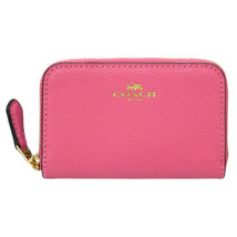 NWT COACH Zip Around Coin Case Card Wallet Pouch Pink Ruby Gold F27569 I... - $32.73