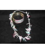 Vintage DEMI Colorful Pastel Shell MOP Necklace & Bracelet - $18.56