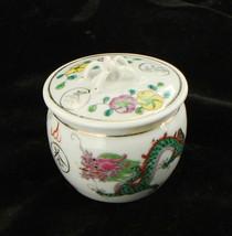 Antique Da Qing Qianlong Dual Dragon Trinket Jar Round w Lid Applied Handle - $67.49