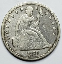1871 Seated Dollar $1 Silver Coin Lot 519-5