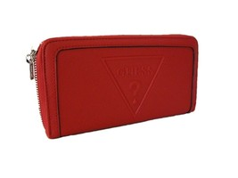 Guess Triangle Logo Large Zip Around Wallet Purse Hand Bag Red Peak NWT - $49.49