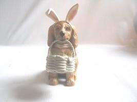 Puppy Ornament  Easter Figure Dog Basket of Eggs Easter Figure - $23.71