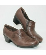 Clarks Size 9.5 M Bendables 62938 Clogs Shoes Brown Leather Zip Size Mules - $23.74
