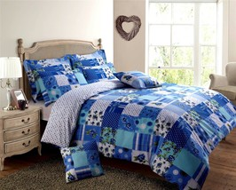 Blu Bianco Mosaico Verde Floreale King Size Misto Cotone Piumone Confort... - $26.68