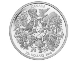 "CANADA 2014 $200 PROOF SILVER COIN 2"" DIAMETER OVER 2 OUNCES FORESTS 166... - $246.51"