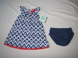 Carters Child Of Mine Blue White Red Heart Tulle Dress 4TH July Summer 3-6 New - $8.90