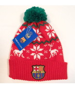 FCB Barcelona Football Club Red Knit Cuff Beanie with Pom Pom Adult One ... - $22.27