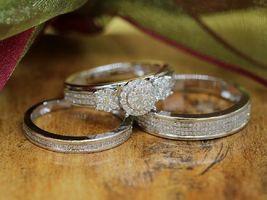 3Pc Trio Engagement Ring Set 14K White Gold Plated 2Ct Round Sim Diamond  - $99.99