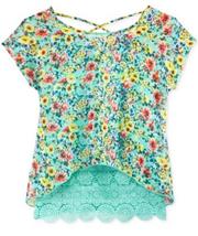 Beautees Girls' 2-Pc. Floral-Print X-Back Top & Crochet Tank,Mint, Size ... - $12.86