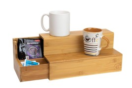 Bamboo Coffee Break-room Organizer w/ Side Drawer for K-Cup Pods & Tea Bags - £30.86 GBP