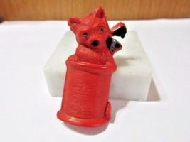 RED CELLULOID PLASTIC VINTAGE CAT ON A SPOOL OR THREAD PIN VINTAGE ORIGI... - $11.00