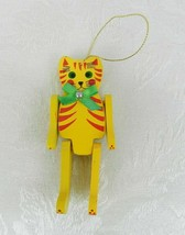 "Wood Cat Christmas Ornament 5"" Movable Arms Legs Yellow Red - $14.84"