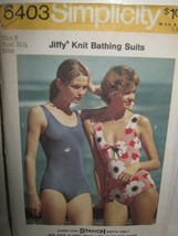 "VTG Simplicity 6403 Jiffy Knit Sz 8 Swim Bathing Suit Pattern 31.5""Bust ... - $7.39"