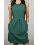 Cynthia Rowley small (2-4) Green dress With Black Leather detail and poc... - $28.74