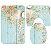 3pcs Bath Mat Set Beach Starfish Decoration Shells Pebbles Pattern Bathr... - $23.22
