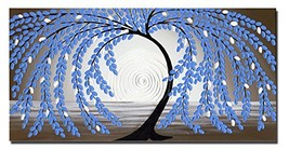 Wieco Art Blue leaves Floral Oil Paintings on Canvas Wall Art Work for B... - $60.37