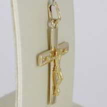 Cross Pendant Yellow Gold 750 18K, Squared, with Christ, Solid, Made in Italy image 2