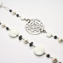 1 MT Long Necklace in Silver 925 with Hematite Agate and Pearls Made in Italy image 5