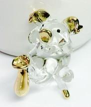Glass Figurine Pig Blown Hand Mini Art Animal Hold Gold Bag Decor Feng S... - $8.09