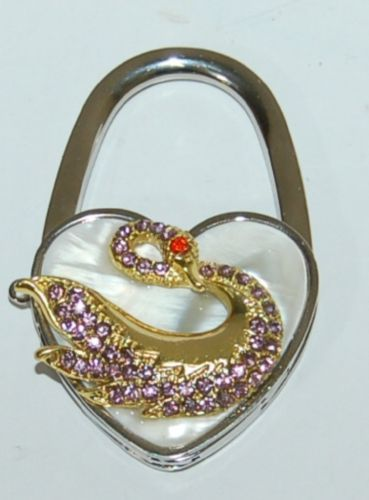 Magnetic Collapsable Heart Shaped Purse Holder Pearl Gold Swan Purple Rhinestone