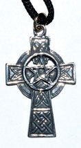"Celtic Cross Pentagram pendant with cord. 1 1/4"" x 3/4"" - $15.99"