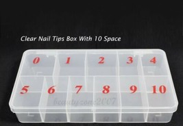 Clear Acrylic Plastic Empty Storage Nail Tips Beads Box Case With 10 Spa... - $7.91