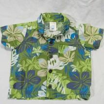 Old Navy Hawaiian Aloha Shirt Size Newborn Green Floral Plumaria - $21.99