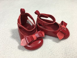 Gymboree Baby Size 1 Red Coral Patent Bow Ankle Strap Crib Shoes Dressy - $12.99