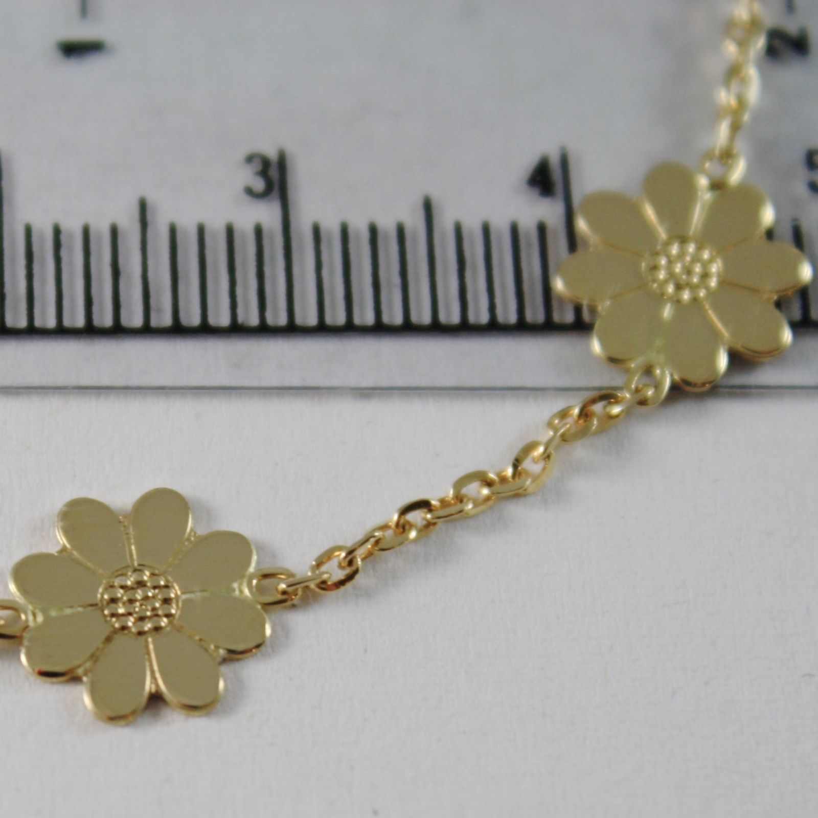 18K YELLOW GOLD BRACELET LITTLE DAISY FLOWER 9 MM, 7.10 INCHES MADE IN ITALY