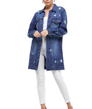 Women's Oversized Casual Cotton Button Up Distressed Long Denim Jean Jacket image 6
