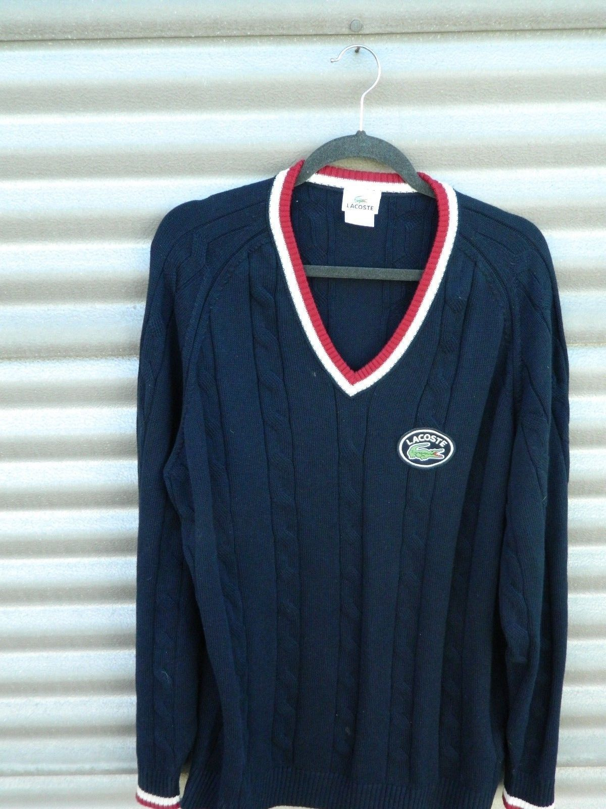 b6540a172c80 LACOSTE SWEATER France LARGE ALIGATOR Blue V-Neck Golf Sweater XXL (8)
