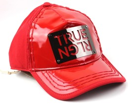 NEW TRUE RELIGION MEN'S PREMIUM SILVER METAL LOGO TRUCKER HAT CAP RED TR1965