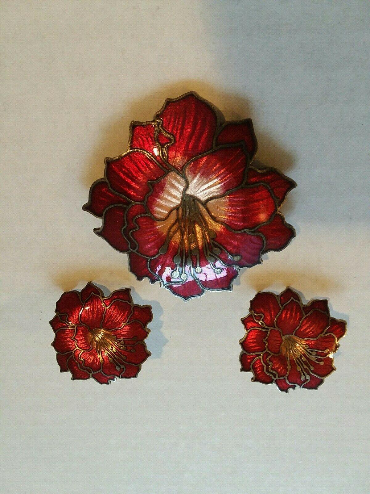 Vintage 3 Pc Deep Red Flower Brooch and Earrings