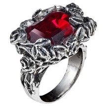 Blood Rose Ring Vines Roses Deep Red Faceted Crystal Alchemy Gothic R227 Unisex - $41.38