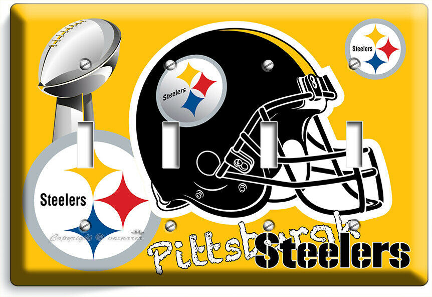 PITTSBURGH STEELERS SUPERBOWL FOOTBALL TEAM 4 GANG LIGHT SWITCH WALL PLATE DECOR