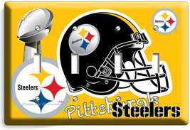 PITTSBURGH STEELERS SUPERBOWL FOOTBALL TEAM 4 GANG LIGHT SWITCH WALL PLA... - $19.99