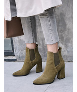 91B007 Lady's Trending thick heeled booties, genuine leather ,size 4-8.5... - $78.80