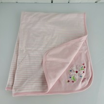 Vintage 2003 Baby Gap Girl Cotton Blanket Pink White Stripe Flower Receiving - $59.39
