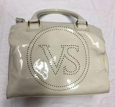 Victoria Secret Ivory/Offwhite Vinyl Handbag Toiletry Travel Makeup Bag/Case - $21.48