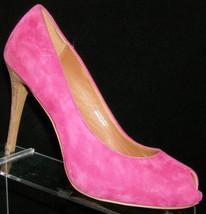 Ash Footwear 'Great Bis' fuchsia suede peep toe slip on platform heel 7 ... - $32.40