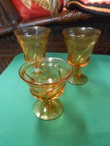 "Beautiful Vintage FOSTORIA ""Jamestown"" Amber Two WATER GOBLETS and 1 SHE... - $8.72"