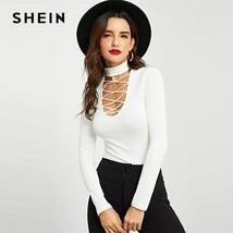 SHEIN White Crisscross Choker Neck Ribbed Knit Slim Fit Plain Top Stand ... - $22.47