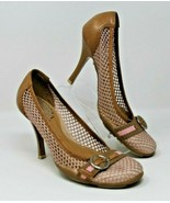 Aldo Size 6 Pink & Brown Heels Netting Buckle Career Made in Brazil Shoes - $30.39