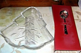 Lenox Crystal Holiday Christmas Tree Candy Dish W/BonBon Spoon  - $13.99