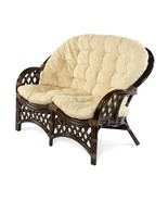 Natural Handmade Rattan Wicker Lounge Sofa Loveseat Roosevelt w/Cushion - $460.99
