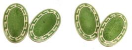 Antique Sterling Norse Celtic Design Green Guilloche Enamel  Cufflinks - $188.99