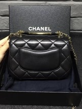 100% Auth Chanel Black Quilted Leather Top Handle Flap Bag GHW image 2
