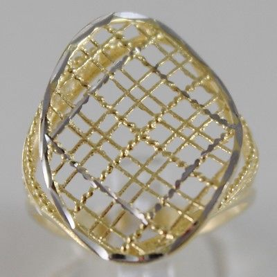 SOLID 18K WHITE & YELLOW GOLD BAND RING OVAL WAVE FINELY WORKED MADE IN ITALY